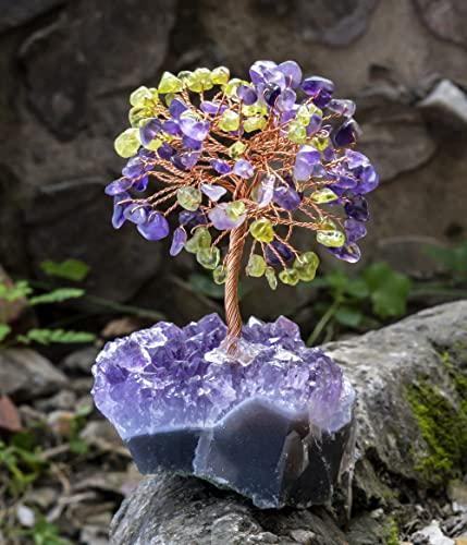 Crocon Amethyst & Peridot Gemstone Tree with Natural...