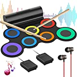 Electronic Drum Set for Kids G7 Pro, Roll Up Practice Pad Midi Electric Drum Kit with Headphone Speaker, Foot Pedals and Drumsticks, Gift for Kids Children (Rainbow)