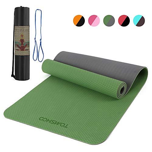 TOMSHOO Yogamatte Gymnastikmatte Pilatesmatte rutschfest aus TPE mit Tragegurt Sportmatte Phthalatfreie für Home-Workout Yoga,Pilates, Fitness-183 x 61 x 0,8cm