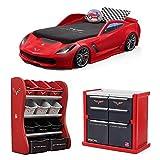 Step2 Corvette z06 Convertible Toddler to Twin Bed with Lights, Step2 Corvette Room Organizer, Step2 Corvette Tool Chest Dresser, Kids Bed, Kids Furniture, Toys Storage, Kids Dresser