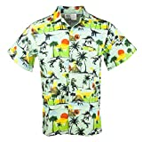 Funny Guy Mugs Mens Dinosaur Hawaiian Print Button Down Short Sleeve Shirt, X-Large