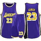 RLYJZ Lakers 23# James Col Rond Gilet De Sport Short Basketball Jersey Ensemble Deux PièCes, Homme sans Manches T-Shirt, Enfant Manche Courte, Femmes Sweat-Shirt,Violet,M(145/160CM)