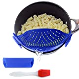Clip-On Kitchen Food Strainer for Spaghetti, Pasta, Ground Beef Grease, Colander & Sieve Snaps on Bowls, Pots and Pans, Set includes Silicone Strainer, Brush & Garlic Peeler by Salbree (Dark Blue)