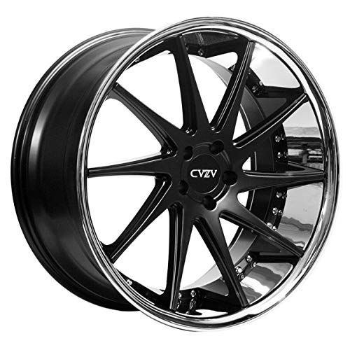 Azad AZ23 – 20 Inch Rims – Set of 4 Semi Matte Black with Chrome Lip Wheels – Sports Racing Cars – Challenger, Charger, Mustang, Camaro, Cadillac and More (20x9) – Rines Para Carros – Car Rim Wheel