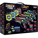 Squad Hero Rechargeable Laser Tag Set + Innovative LCDs and Sync - Pack of 4 Infrared Guns & Vests – Group Toys & Games for Kids, Teens, Teenage Boys & Girls - Great Fun Gifts for Ages 8+ Cool X
