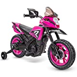 Huffy 6V Kids Electric Battery-Powered Ride-On Motorcycle Bike Toy w/Training Wheels, Engine Sounds, Charger - Pink