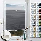 Grandekor Wabenplissee Klemmfix Plissee Verdunklung Zweifarbig 65x120cm (BxH) Weiß-Grau (Metallzubehör) / Thermoplissee ohne Bohren für Fenster & Tür, Sonnen-, Sicht- & Schallschutz Wärmeisolierung