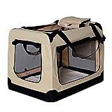 dibea TB10042,Borsa Trasportino per cani, Scatola pieghevole per animali, Beige, (L) 70x52x50 cm