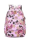 AHJSN Mochila Escolar Floral Mochila para niñas Mochila Puerto de Carga USB Rosa 30 * 13 * 42 cm Rosa [USB]