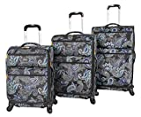 Lucas Designer Luggage Collection - 3 Piece Softside Expandable Ultra Lightweight Spinner Suitcase Set - Travel Set includes 20 Inch Carry On, 24 Inch & 28 Inch Checked Suitcases (Diva)