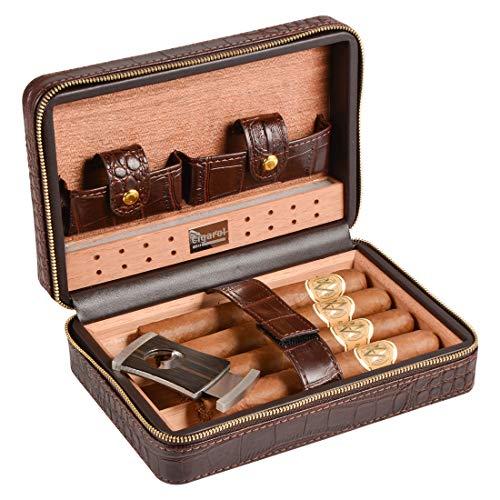 Volenx Cave à cigares en cuir de crocodile avec Humidificateur en gel de...