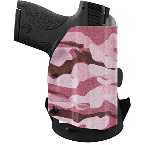 We The People Holsters - Pink Camo - Right Hand Outside Waistband Concealed Carry Kydex OWB Holster Compatible with Smith & Wesson M&P 380 Shield EZ