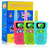 BYBOO Kids Walkie Talkies 3 Pack, 22 Channels 2 Way Radio Walky Talky Toys with Backlit LCD Flashlight, 3 Miles Range Best Gifts Toys for Boys & Girls Indoor Outdoor Activity