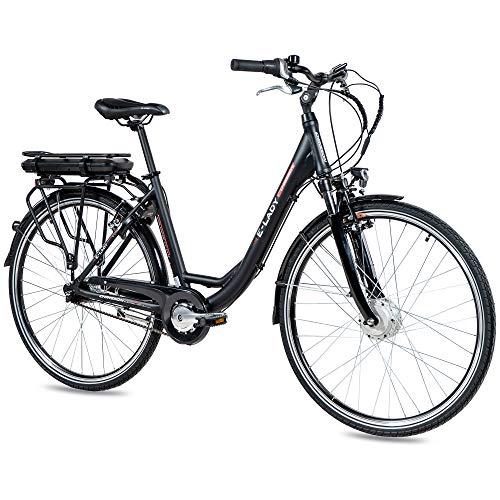 CHRISSON 28 Zoll E-Bike Trekking und City Bike für Damen - E-Lady schwarz mit 7 Gang Shimano Nexus Nabenschaltung - Pedelec Damen mit Ananda Vorderradmotor 250W, 36V