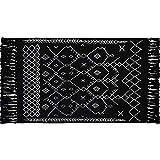 Ukeler Hand Woven Cotton Printed Kilim Rug 2'x3' Decorative Nordic Accent Throw Rug with Tassel Geometric Handmade Rag Rug Entryway Thin Floor Mat for Living Room Laundry Room Dorm, Black