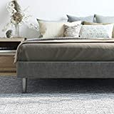Claridge Upholstered Mattress Foundation | Platform Bed | Metal Frame with Wood Slat Support | Grey, California King