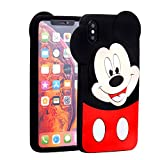 Case for iPhone XR 6.1' inch,TopSZ Cute Silicone Couple Lover Love 3D Cartoon Cool Kawaii Animal Cover,Soft Rubble Skin for iPhone XR,Funny Unique Character Cases for Kids Girls Teens boy Guys-Mickey