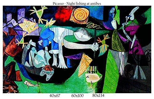 Stampa in Tela Canvas 100% QUALITà ITALIA - Picasso - Night fishing at antibes effetto Dipinto Idea...