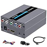 Component to HDMI Converter with Scaler Function, EASYCEL YPbPr to HDMI Converter, 5RCA RGB to HDMI Converter Adapter Includes HDMI and Component Cables(Aluminum)