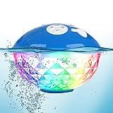 Uekars Enceintes Bluetooth Portables, Haut-parleurs des Piscines Flottants étanches IPX7 avec Lumière Lolorée LED, Enceinte Douche pour Bain à Remous, Spa, Jacuzzi, étang, Plage, fête, Camp (Bleu)