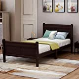 Wood Platform Bed Twin Bed Frame Mattress Foundation Sleigh Bed with Headboard/Footboard