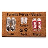 NANNUK Paillasson personnalisé en fibre de coco Famille 3 + Dog