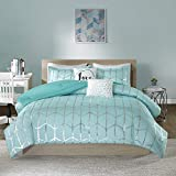 Intelligent Design Raina Comforter Metallic Print Geometric Design Modern Trendy All Season Bedding Set, Matching Sham, Decorative Pillow, Twin/Twin XL, Aqua/Silver