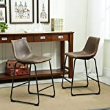 Roundhill Furniture Lotusville Vintage PU Leather Counter Height Stools, Antique Brown, Set of 2