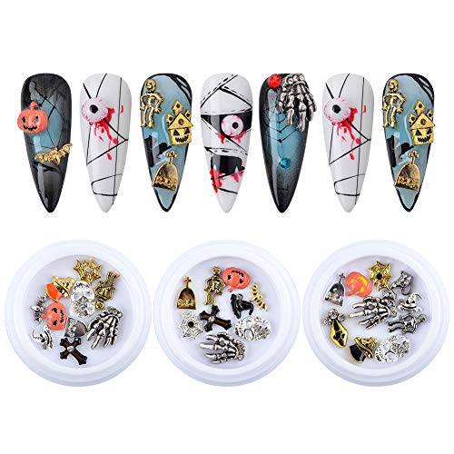 QIMYAR Nail Charms Halloween For Acrylic Nails 3D Nail Art Charms Nail Decoration Manicure Kit Mixed Skull Pumpkin Skeleton Hands Bat Witch Spider Web Castle Design 3 Boxes