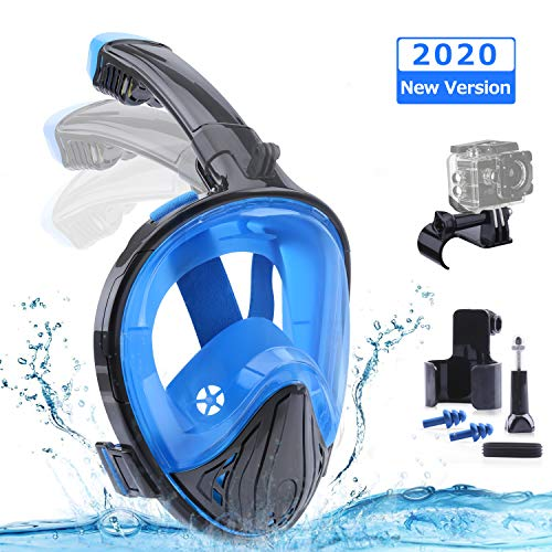 Tauchmaske Vollgesichtsmaske Vollmaske Schnorchelmaske mit 180° Sichtfeld und Kamerahaltung Faltbare Tauchermaske Schnorchelbrille Schnorchelset Anti-Fog Anti-Leck Tauchmasken für Erwachsene L / XL