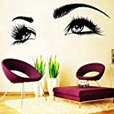 Etiqueta engomada de la pared del vinilo de las pestañas Etiqueta engomada de la pared inspiradora de la familia del maquillaje de las cejas de las pestañas hermosas