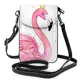 Lawenp Flamingo Crown Crossbody Monedero para teléfono Pequeño Mini bolso de hombro Bolsa para teléfono celular Cartera de cuero para mujeres y niñas