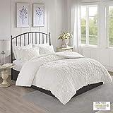 Madison Park Tufted Chenille 100% Cotton Comforter All Season Bedding Set, Matching Shams, Full/Queen(90'x90'), Viola, Damask White