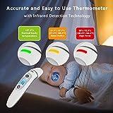 Bebe Thermometre, Medical Numerique Infrarouge Frontal et Oreille Thermometre pour Bebe, Enfant, Adulte en 1 seconde de Temps de Mesure, avec Memoire et Avertisseur de Fievre et Retro-eclaire