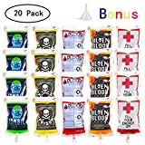 QINGQIU 20 Pack Halloween Blood Bags Reusable Blood Cups Containers for Drinks Halloween Party Favors Costumes Props Nurses Day Party Decorations