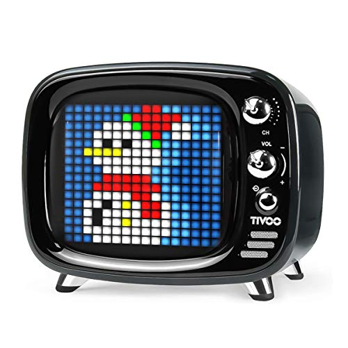 Divoom Tivoo Retro Bluetooth Lautsprecher - Pixel Art DIY Box, RGB programmierbar 16X16 LED, Unterstützung Android & iOS; TF/SD-Karte & AUX 3.9X3X3.2 Zoll (Schwarz)