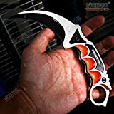 CSGO Karambit Advanced Tactical Knife Survival Knife Hunting Knife Fixed Blade Knife Razor Sharp Edge Camping Accessories Camping Gear Survival Kit Survival Gear 51763 (Asiimov)