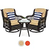 Best Choice Products 3-Piece Patio Wicker Bistro Furniture Set w/ 2 Cushioned Swivel Rocking Chairs, Side Table - Beige