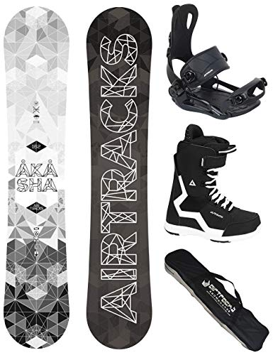 Airtracks Snowboard Set - Wide Board Akasha Wide 152 - Softbindung Master - Softboots Savage Black 38 - SB Bag