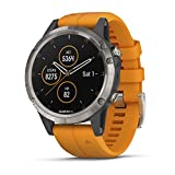 Garmin fenix 5 Plus, Premium Multisport GPS Smartwatch, Features Color Topo Maps, Heart Rate Monitoring, Music and Contactless Payment, Titanium with Orange Band
