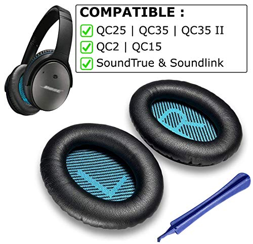 Replacement Ear Pads for Bose QC25 Compatible Bose QC25 Replacement Ear Pads Made by Earpad Guys - Compatible with QC25 QC35 QC2 QC15 Ae2 Ae2i Ae2w SoundTrue & SoundLink Ear Cushion [Black/Blue]