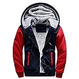 LBL Homme Hiver Chaud Sweats à Capuche Zippé Épaisse Veste de Manches Longues Manteau Rouge 2XL
