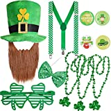 St. Patrick's Day Accessories Leprechaun Costume Top Hat Suspenders Shamrock Beads Necklace Bow Tie Sunglasses Pins Saint Patrick's Day Dress-up Accessories