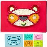 Assiette pour enfants Tapis de table en silicone pour bébé Napperon antidérapant pour bébé (Panda, Rouge)
