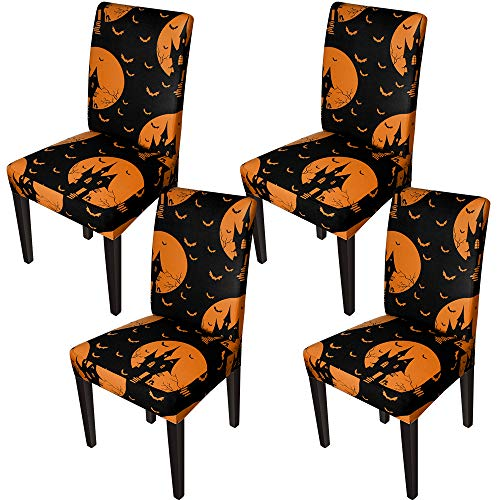 Chair Covers for Dining Room Halloween Printed Dining Chair Slipcovers(Set of 4,Black Orange)