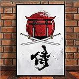 zzzddd Impresin De Lienzo,Bonsai Japons Kanji Samurai Bushido Anime Pster Abstracta E Imprime El Arte De Pintar Cuadros De Pared De Saln Decoracion,40 * 50 Cm Sin Cerco