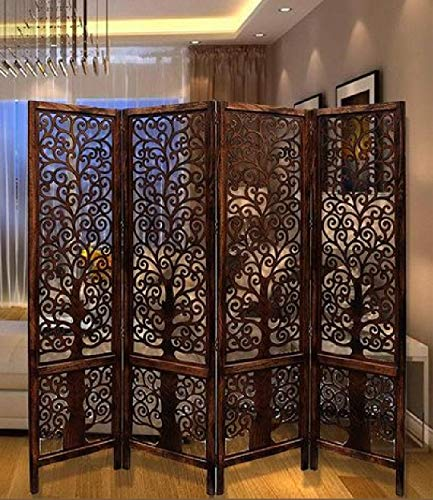 R.A.A.WOOD CARVING Handcrafted 4 Panel Wooden Room Partition/Wooden Room Divider/Wooden Screen/Wooden Room Seperator