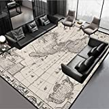 World Map Area Rug Indoor and Outdoor Antique Map America in 1600s World in Medieval Time Ancient Era in Retro Style Multicolor Rug 54' by 28'
