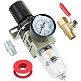 Hromee 1/4 Inch Air Compressor Filter Regulator Combo, Water Oil Separator with Pressure Gauge, Manual Drain, Ball Valve and Bracket AW2000-02