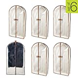 Smart Design Canvas Gusseted Garment Bag - (24 x 42 Inch) - w/Clear Window - w/Cedar Wood - Odor Repellent - Suits, Dresses, Gowns Storage Organization - (Natural Canvas) - Set of 6